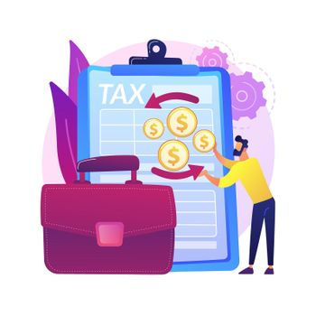 Corporation income tax returns abstract concept vector illustration.