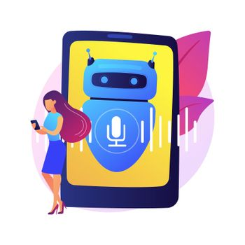 Chatbot voice controlled virtual assistant abstract concept vector illustration.