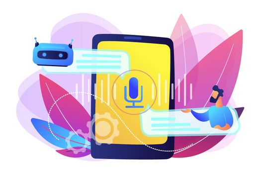 Chatbot voice controlled virtual assistant concept vector illustration.
