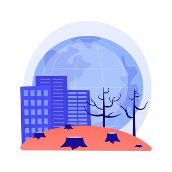 Deforestation abstract concept vector illustration.
