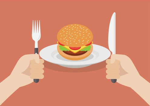Knife and fork cutlery in hands with burger