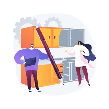 Custom made kitchens abstract concept vector illustration.