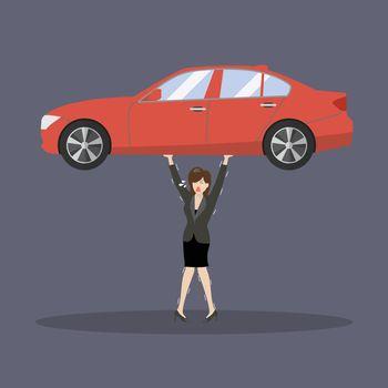 Business woman carry a heavy car
