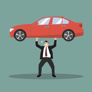 Businessman carry a heavy car