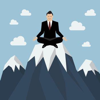 Businessman meditating on a Mountain peak