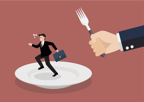 Businessman run away from big hungry man