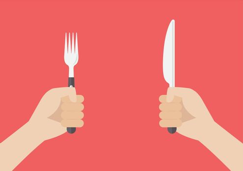 Hand holding grilled sausage on the fork