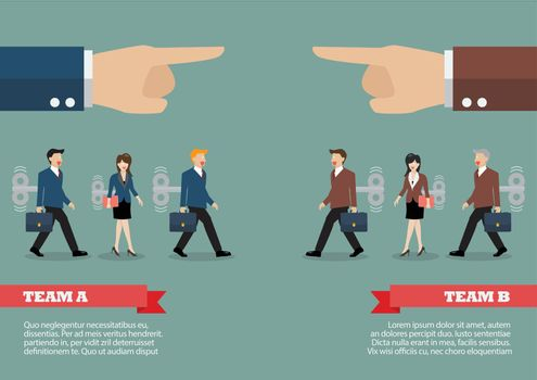 Infographic of mechanical business men and women was controlled by big hand