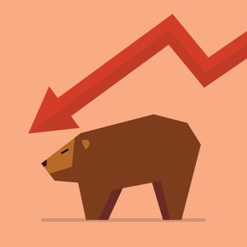 Bear with graph down trend