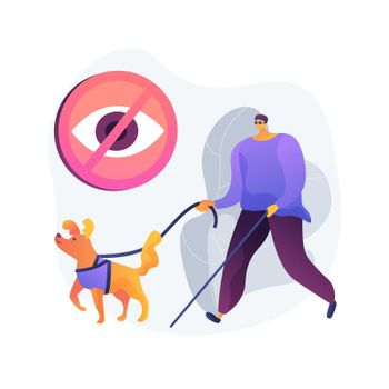 Blindness and vision loss abstract concept vector illustration.