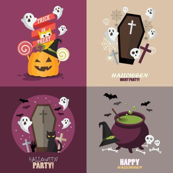 Collection of Halloween party greeting card