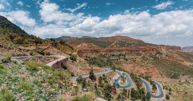 winding road in Semien, Simien Mountains, Ethiopia