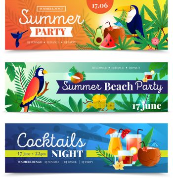 Tropical Cocktail Beach Party Banners Set