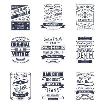 Denim typography logo emblems set