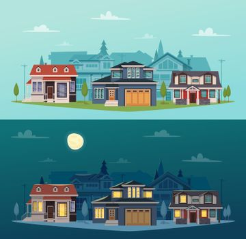 Suburban Houses Horizontal Banners