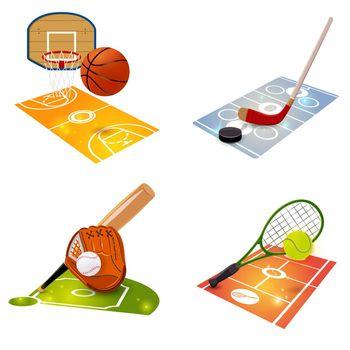 Sport Equipment Concept Set