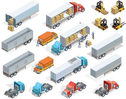 Transportation Isometric Elements Set