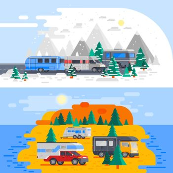 Two Recreational Vehicles Composition