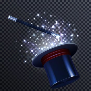 Tale Composition With Magic Wand And Magician Hat