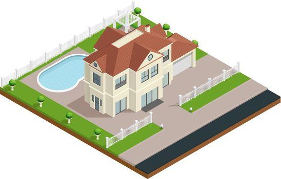 Suburb House Building Composition