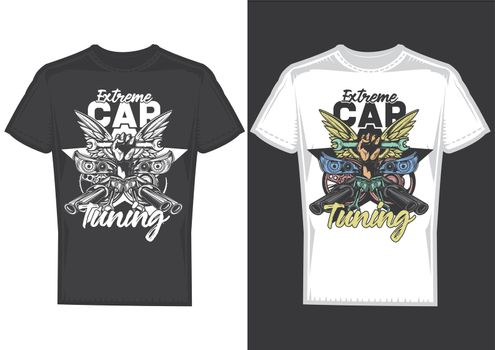 T-shirt design samples with illustration of car tuning on dusty background.