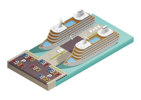 Cruise Liners In Harbor Isometric