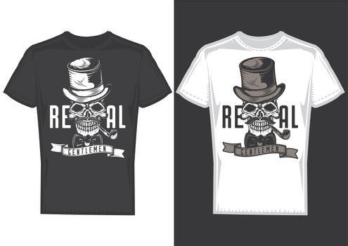 T-shirt design samples with illustration of a gentleman skull with a hat.