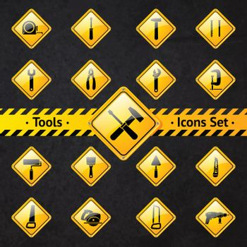 Toolbox attention yellow and black signs