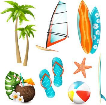 Summer Surf Vacation Items Set
