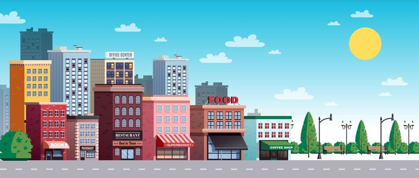 Town City Street Summer illustration