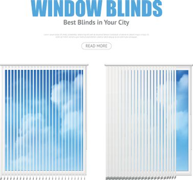 Two Windows With Blinds Overlooking Cloudy Sky