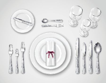 Table Setting Realistic Top View