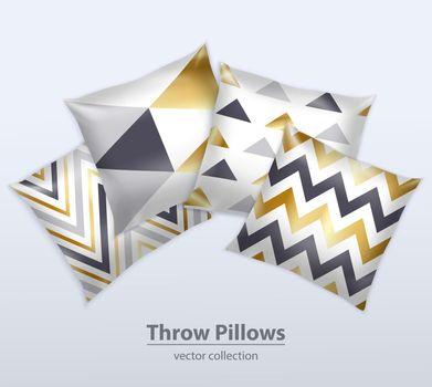 Decorative Pillows Patterns Realistic Set