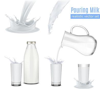 Pouring Milk Realistic Composition