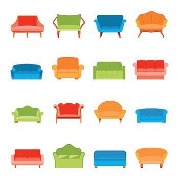 Sofa icon flat
