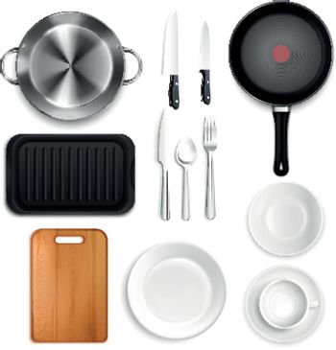 Realistic Kitchen Utensils Set