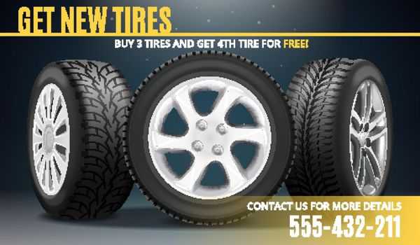 Tire Advertising Realistic Poster