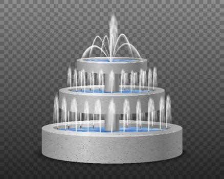 Realistic Tier Fountain Transparent