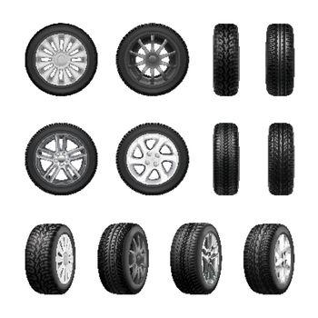 Tires Wheels Realistic Set