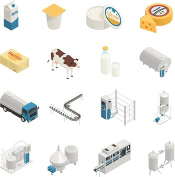 Milk Production Icon Set