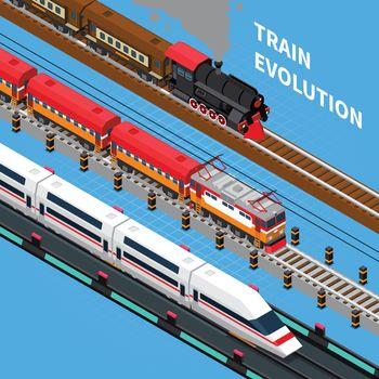 Train Evolution Isometric Composition