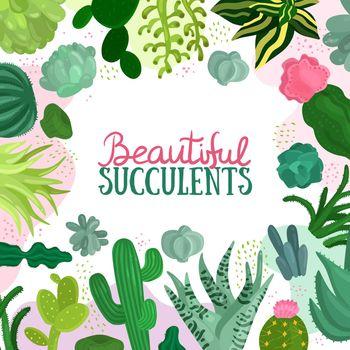 Succulents Frame Illustration