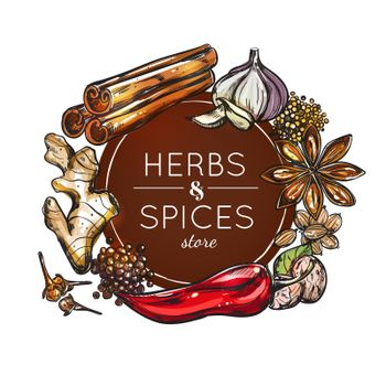 Spice And Herb Store Emblem