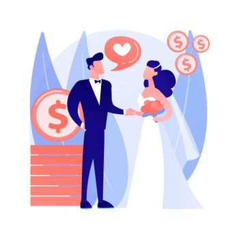 Marriage of convenience abstract concept vector illustration.