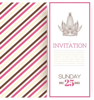 Striped princess invitation template