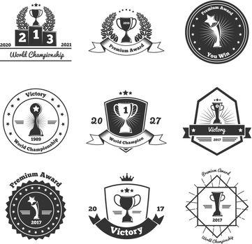 Trophy Awards Emblems Set