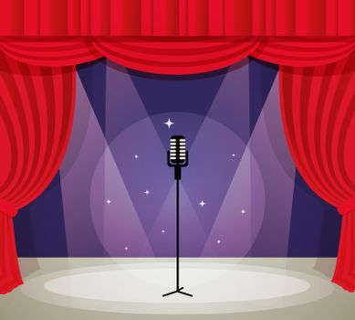 Stage with microphone