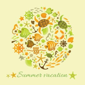 Summer Background With Marine Icons In Circle