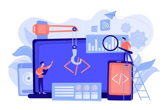 Cross-platform development concept vector illustration.