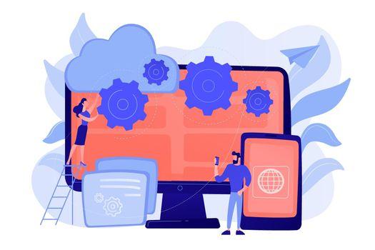 Cross-platform programming concept vector illustration.